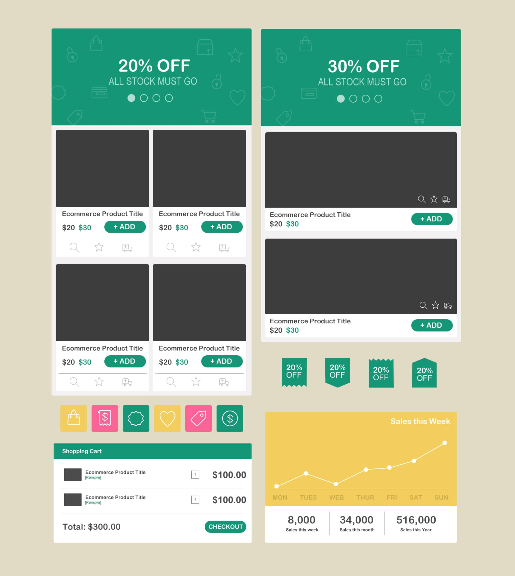 Free Flat E-commerce UI Kit PSD