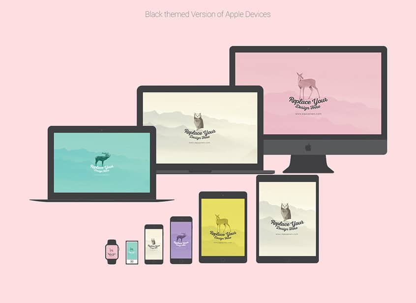 Free Flat Vector Apple Device Mockups
