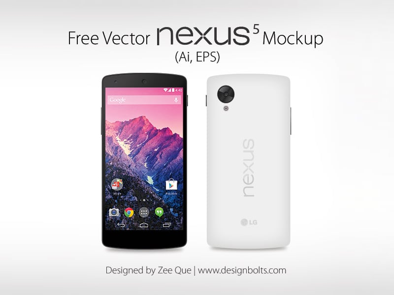 Free Google Nexus 5 Vector Mockup