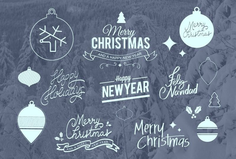 Free Icons, Badges & Lettering For XMAS