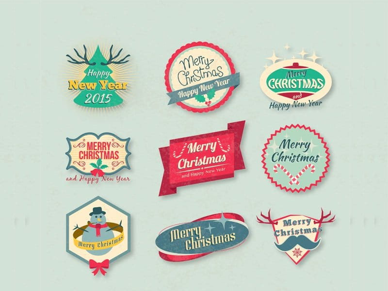 Free Vintage Christmas Badges Vector Pack