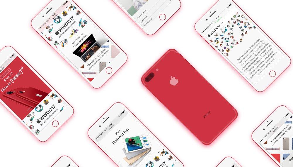 Free iPhone 7 Plus Red Flat Mockup