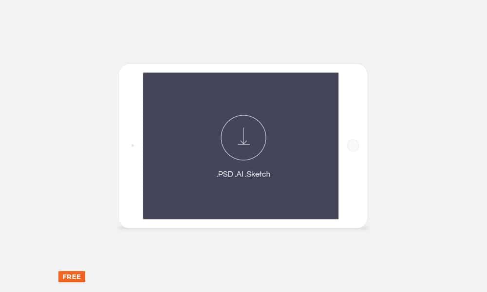 Free minimal light landscape tablet mockup