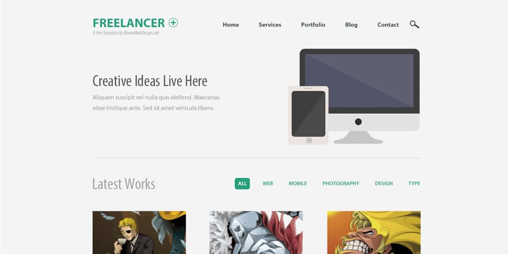 Minimalist One Page Website Template PSD