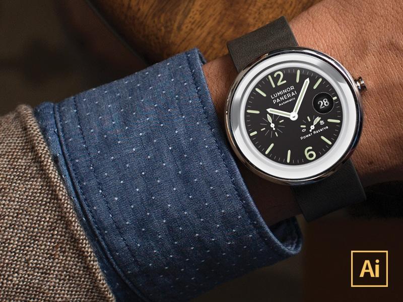 Moto360 Watchface Vector Mockup
