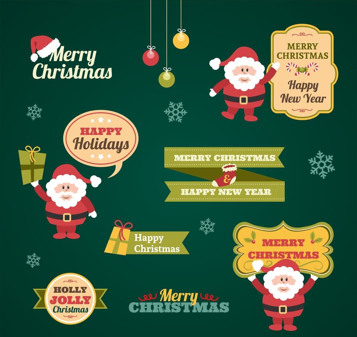 Vintage Christmas Stickers Collection Vector
