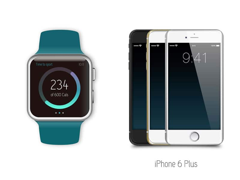 iPhone and Apple Watch vector mockupsiPhone and Apple Watch vector mockups