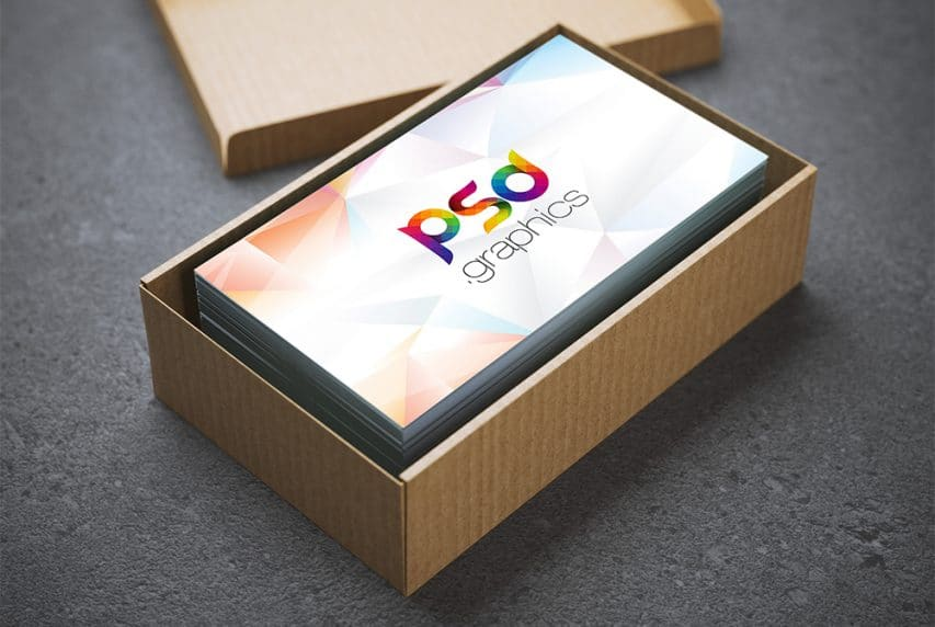 Business Card in Cardboard Box Mockup PSD
