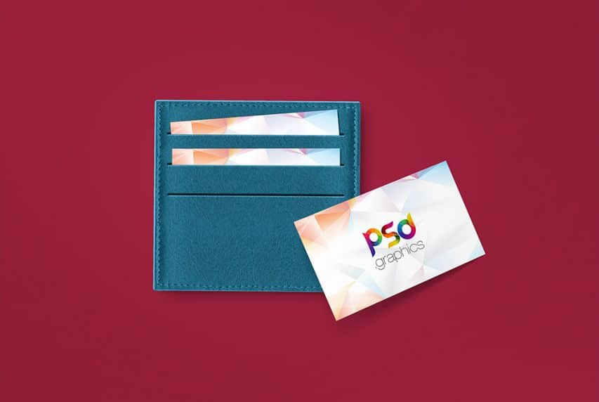 Business Card in Wallet Mockup PSD