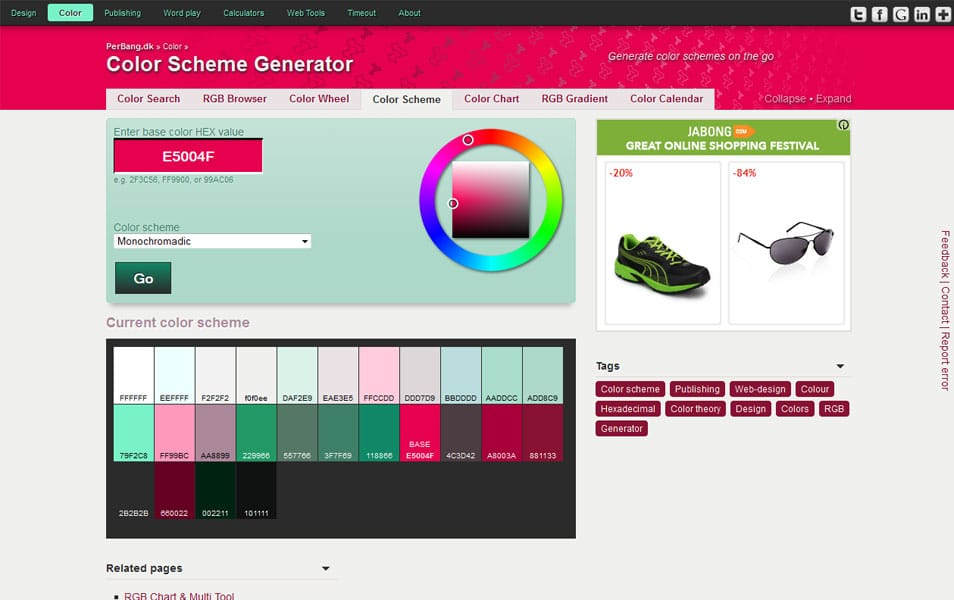 Web page color schemes generator coloring pages for Web page color