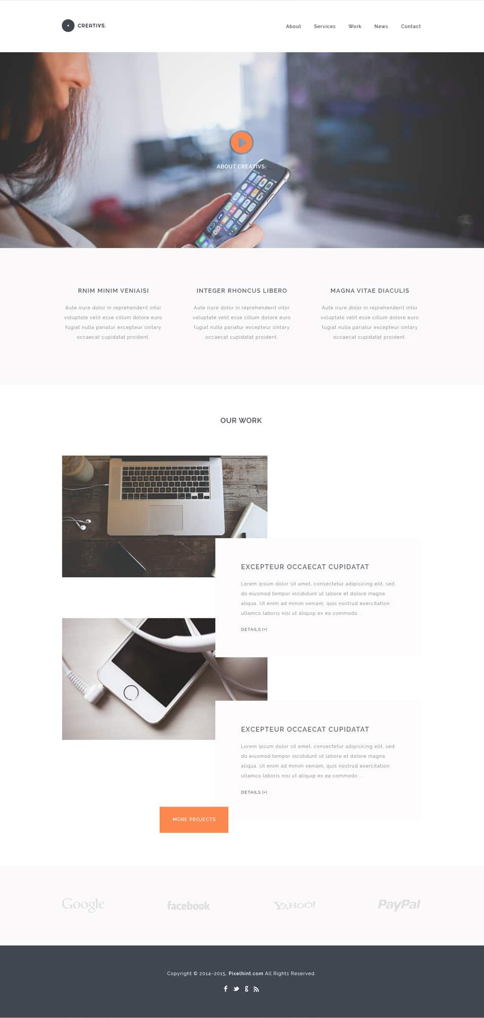 Creativs – Free Complete Website Template (PSD & HTML5)