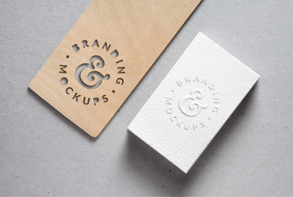 Cutout Wood & Embossed Buisness Card MockUp