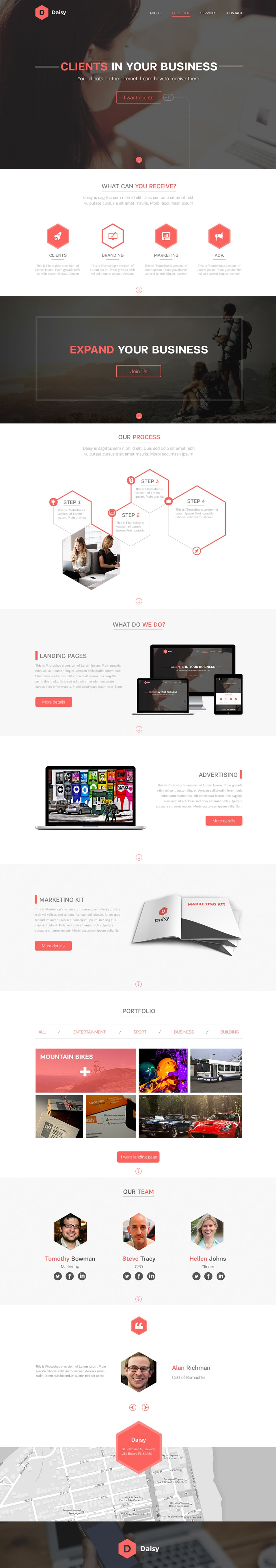 Daisy - Free Landing Page PSD