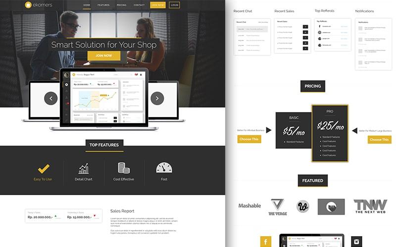Ekomers – Free App Landing Page PSD