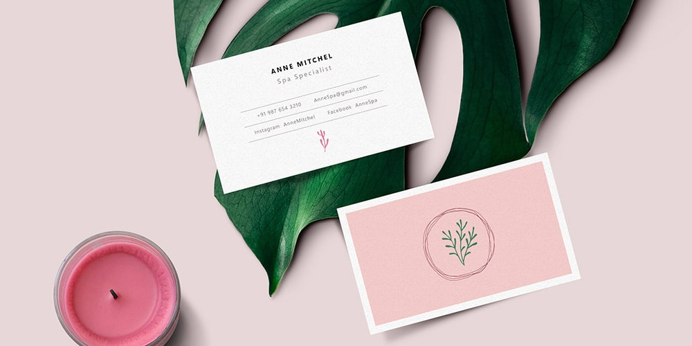 Feminine Business Card Mockup PSD