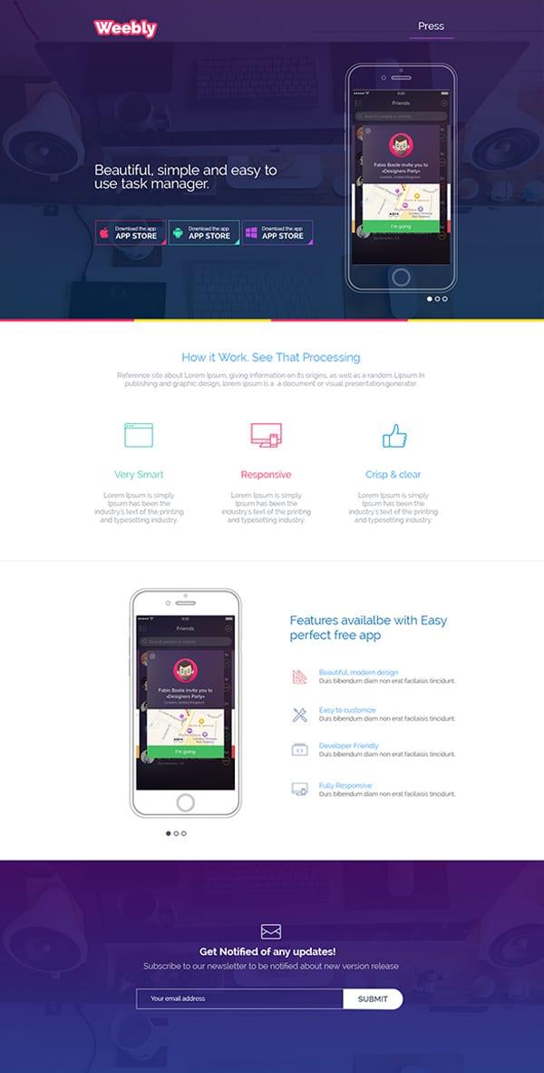Free App Landing Page