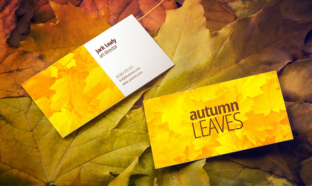 Free Autumn Leaves Business Card Mockup PSD