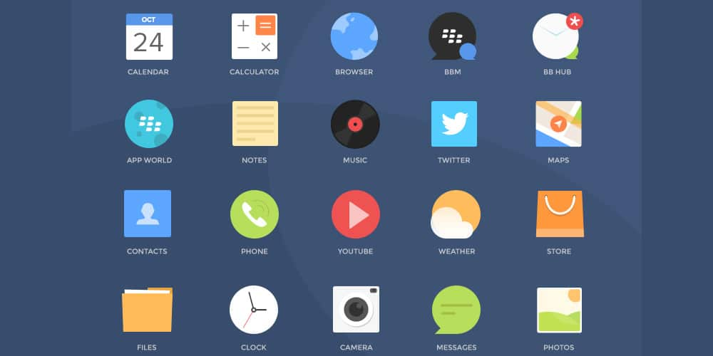 Free Blackberry Icons PSD