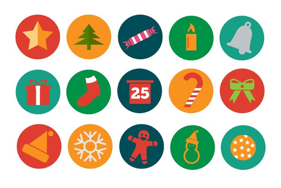 Free Christmas Flat Icons PSD