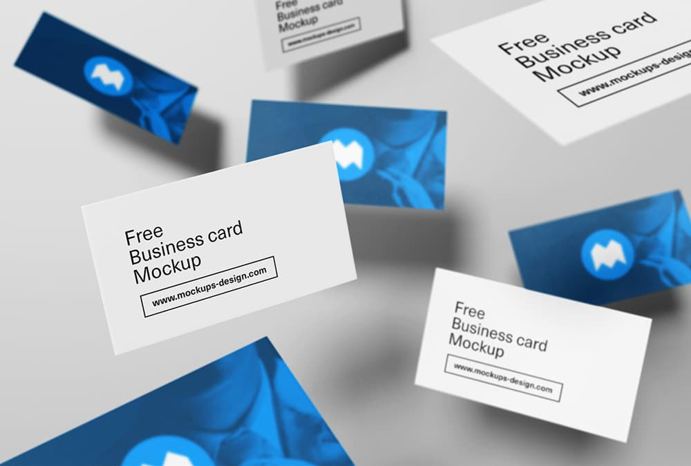 Free Flying Style Business Card Mockup PSD