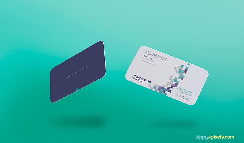 Free Gravity Business Card Mockup PSD