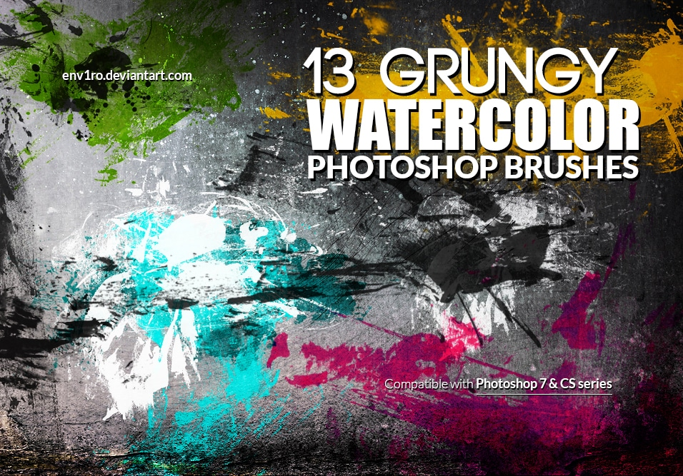 Free Grungy Watercolor Photoshop Brushes