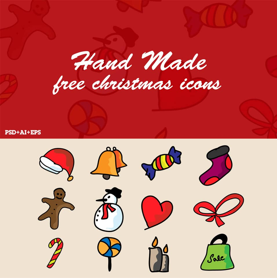 Free Hand Doodle Christmas Icons