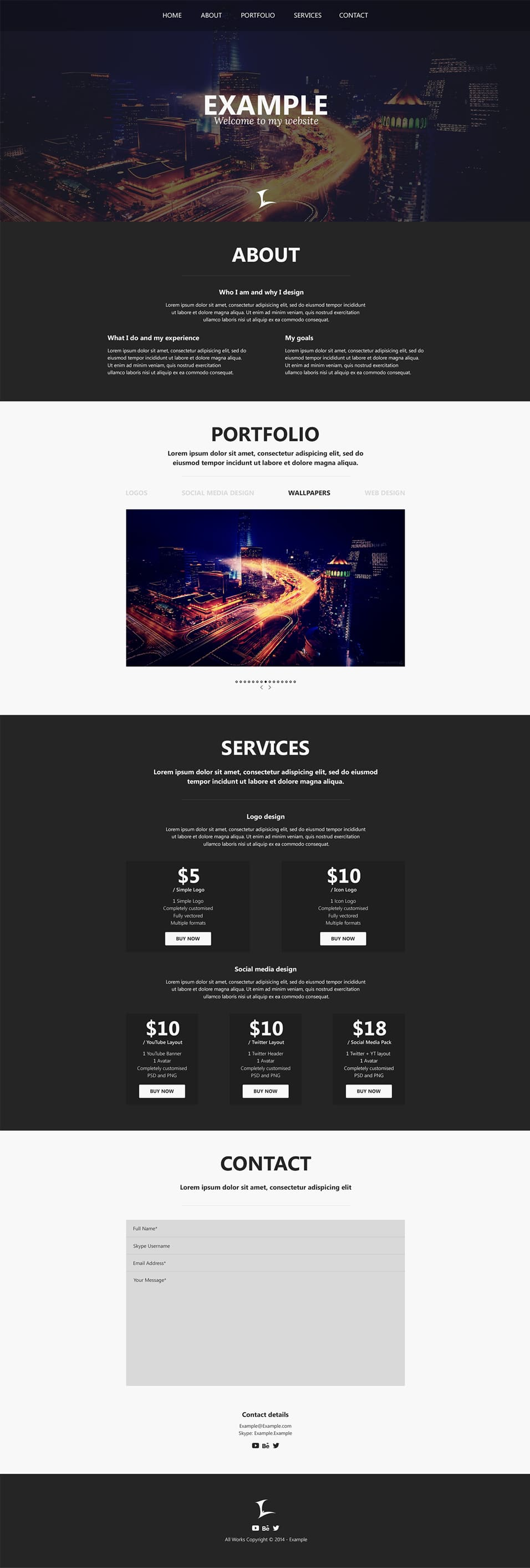 Free One-Page Portfolio Website Template PSD