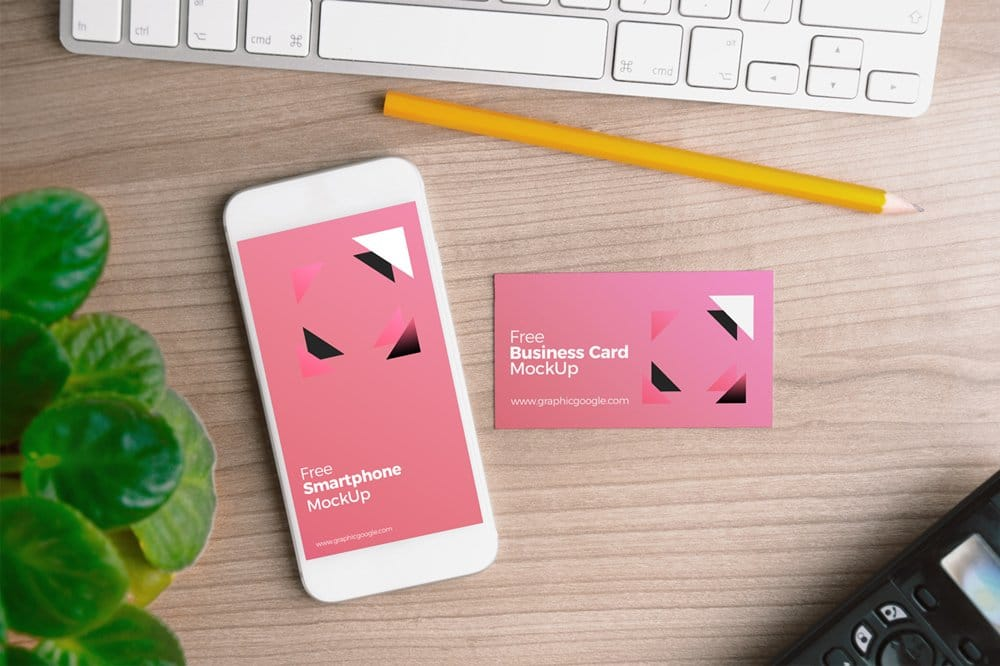 Free Smartphone with Business Card MockUp PSD