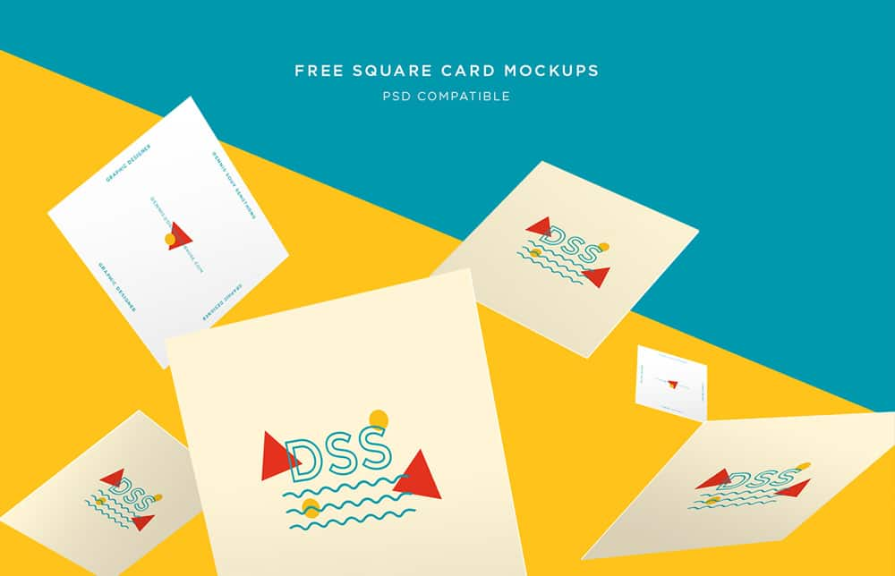 Free Square Card Mockups