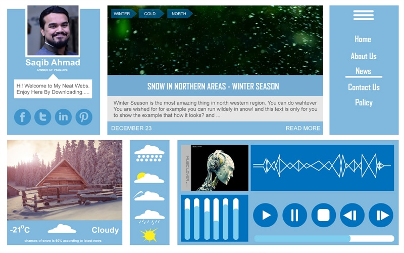 Free Winter UI Kit PSD