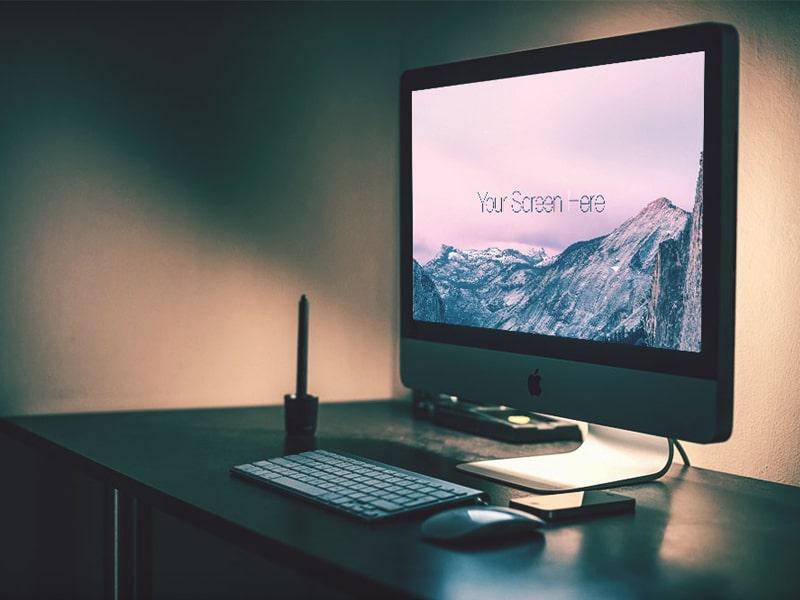 Free iMac Photorealistic Mockup PSD