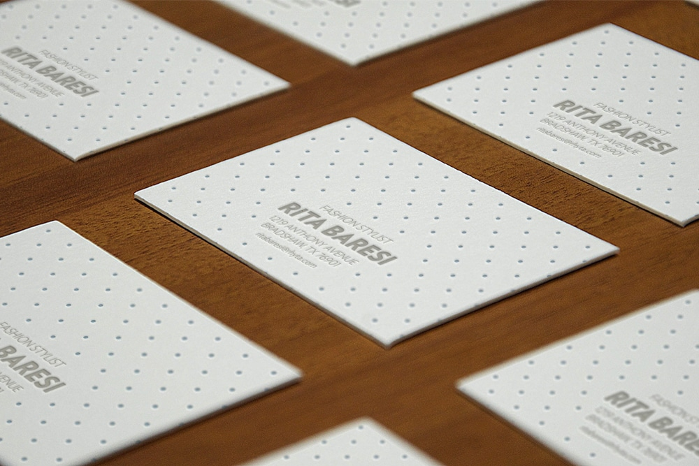 Letterpress Buisness Cards Perspective MockUp