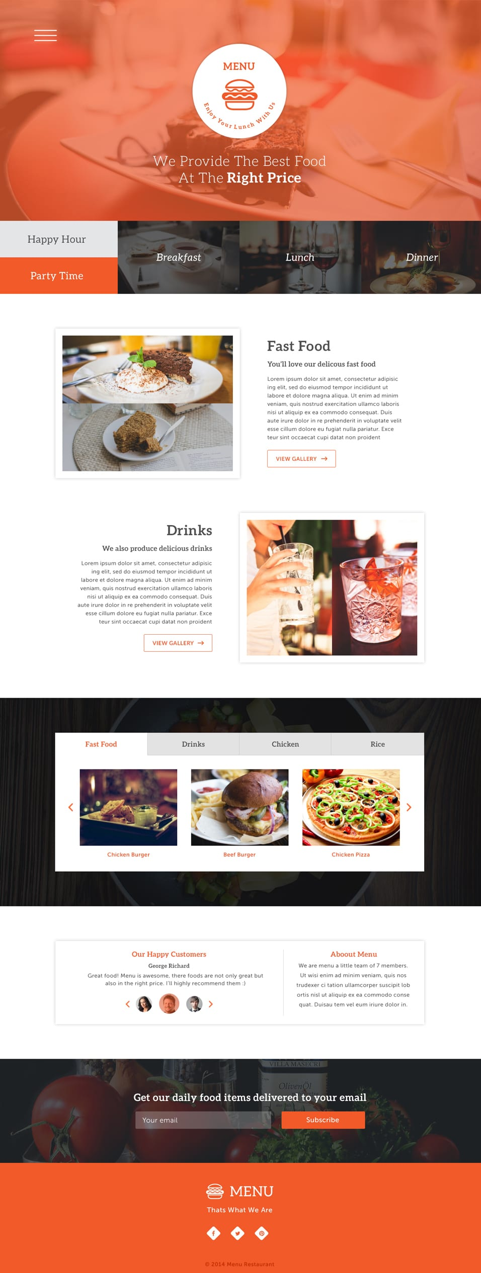 single page menu template