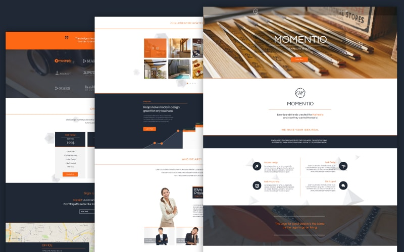 Momentio - Single Page Free Template PSD