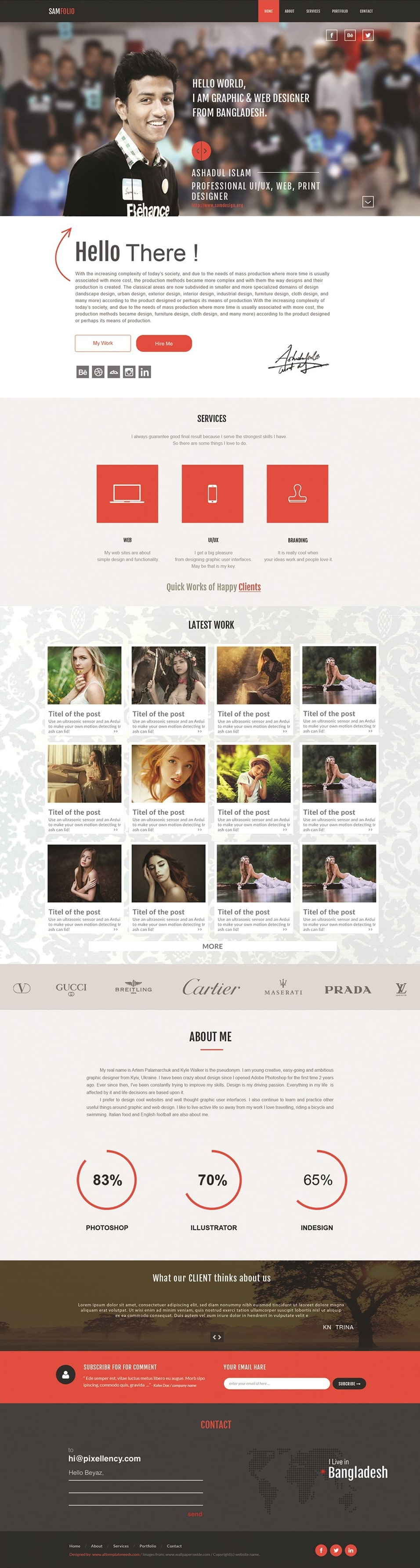 Samfolio Personal Free One Page Web PSD