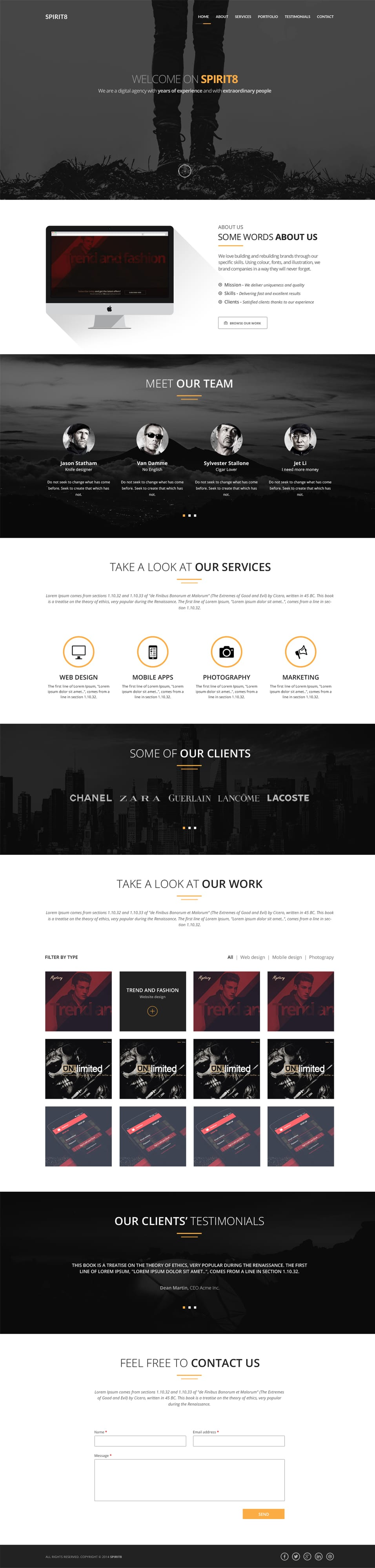 Spirit8 – Digital Agency One Page Template PSD