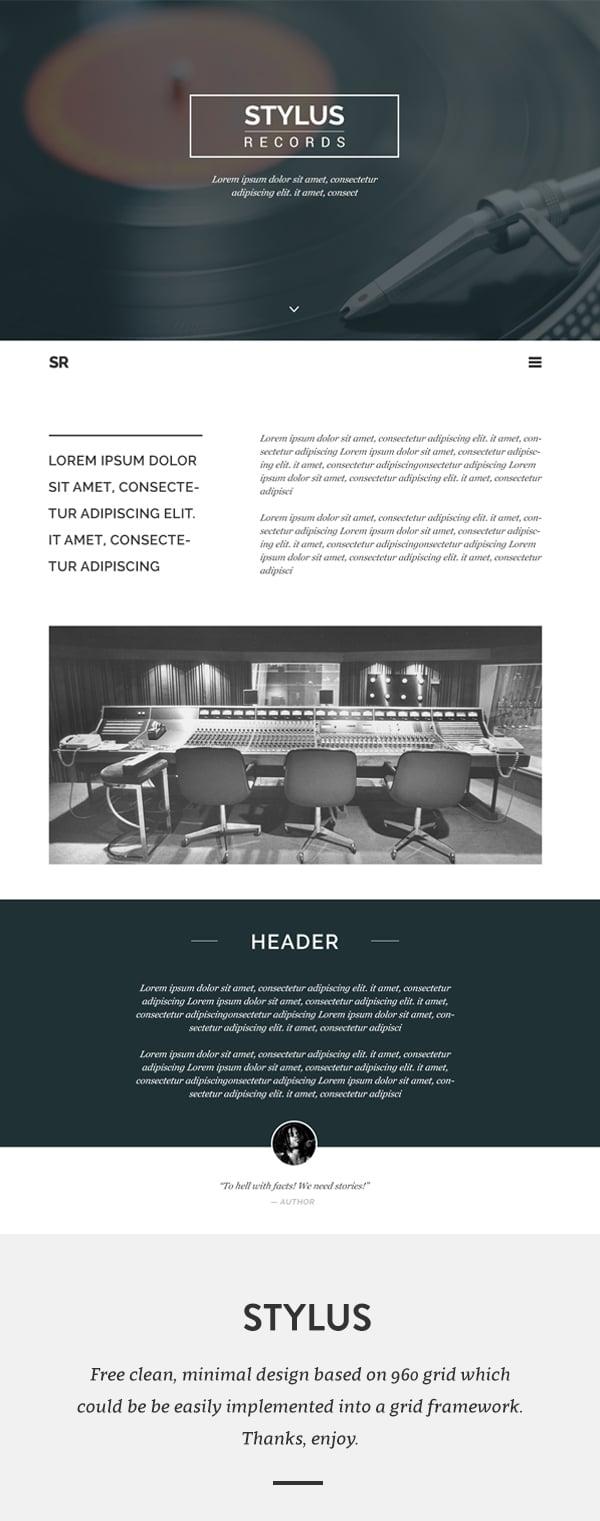 Stylus Free Web Template PSD