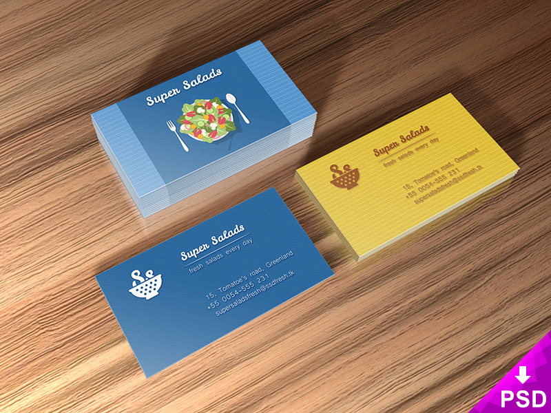 Super Salads Business Cards Mockup PSD