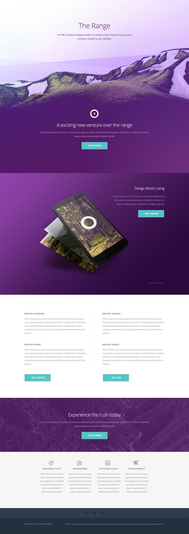 The Range - Single Pager Website Template PSD