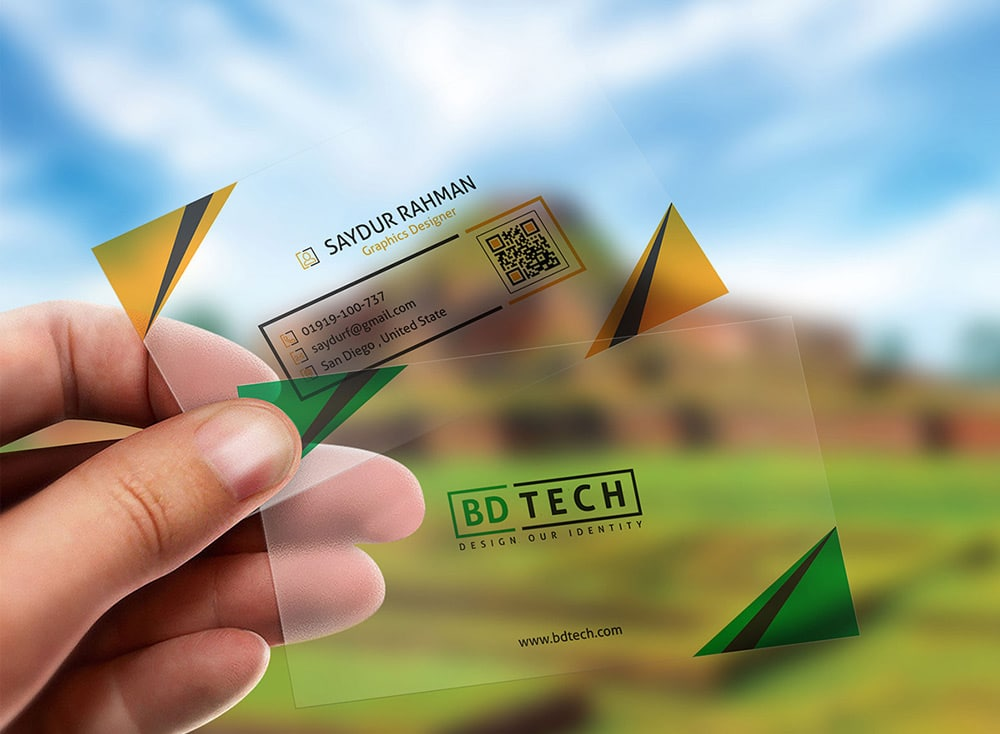 Translucent Plastic Business Card Mockup PSD