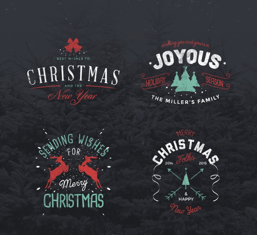 Vintage Christmas Badges PSD