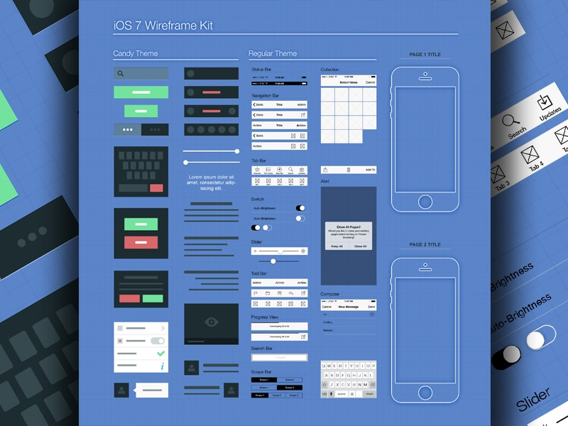 iOS7 Wireframe Kit PSD