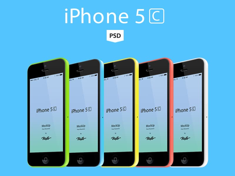 iPhone 5C Free Vector Mockup PSD