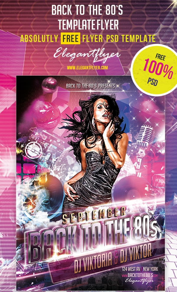 Back To The 80`s – Club and Party Free Flyer Template PSD