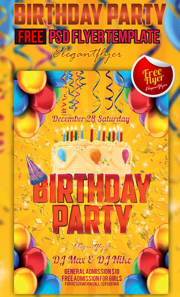 Birthday Party – Free Club and Party Flyer Template PSD