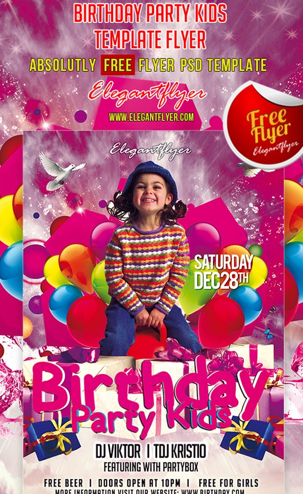 Birthday Party Kids – Club and Party Free Flyer Template PSD