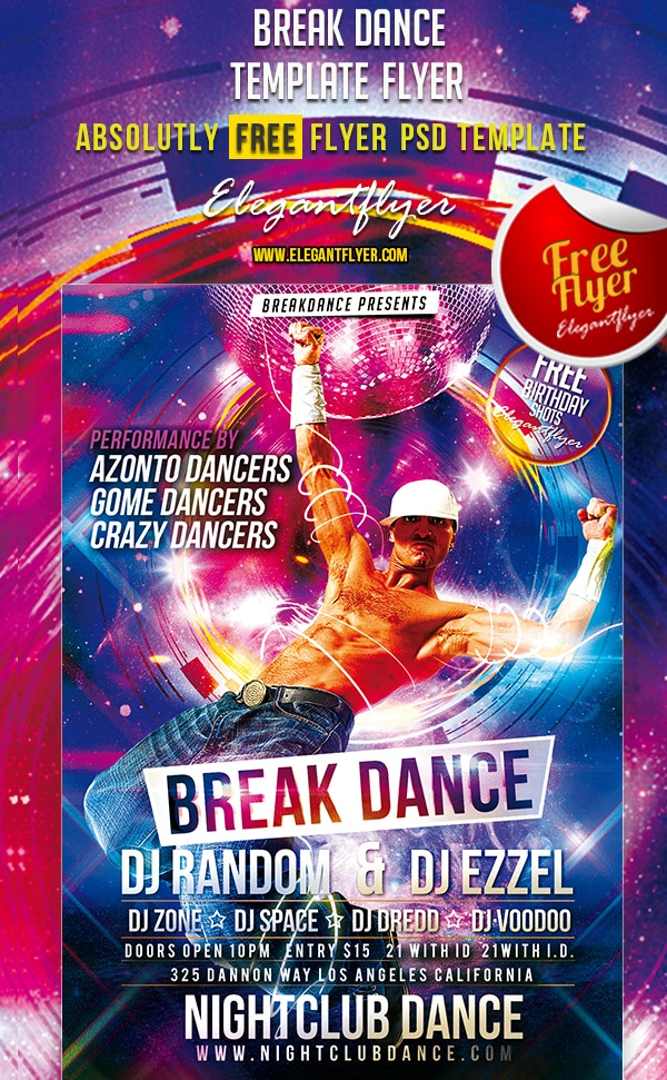 Break Dance – Free Club and Party Flyer Template PSD