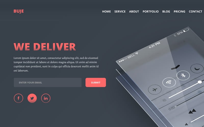 Buje - One Page PSD Template