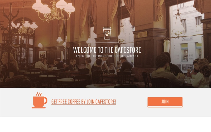 Cafestore - Free One Page Template PSD